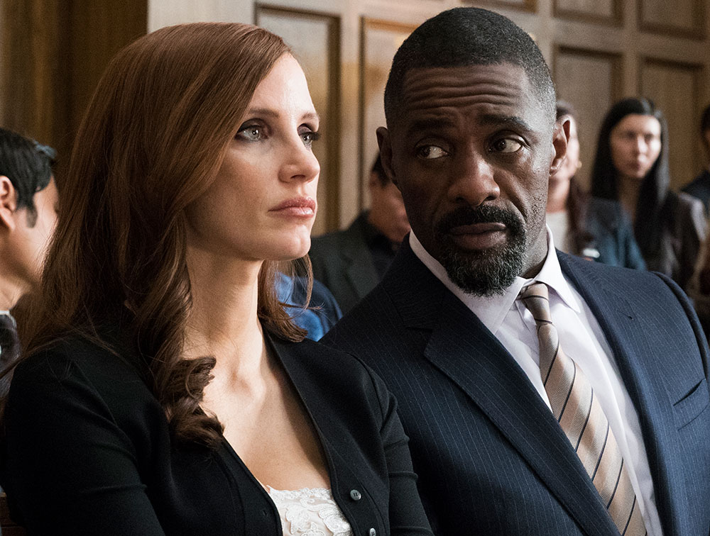 Molly's game with Idris Alba speaking to Jessica Chastain  in courtroom