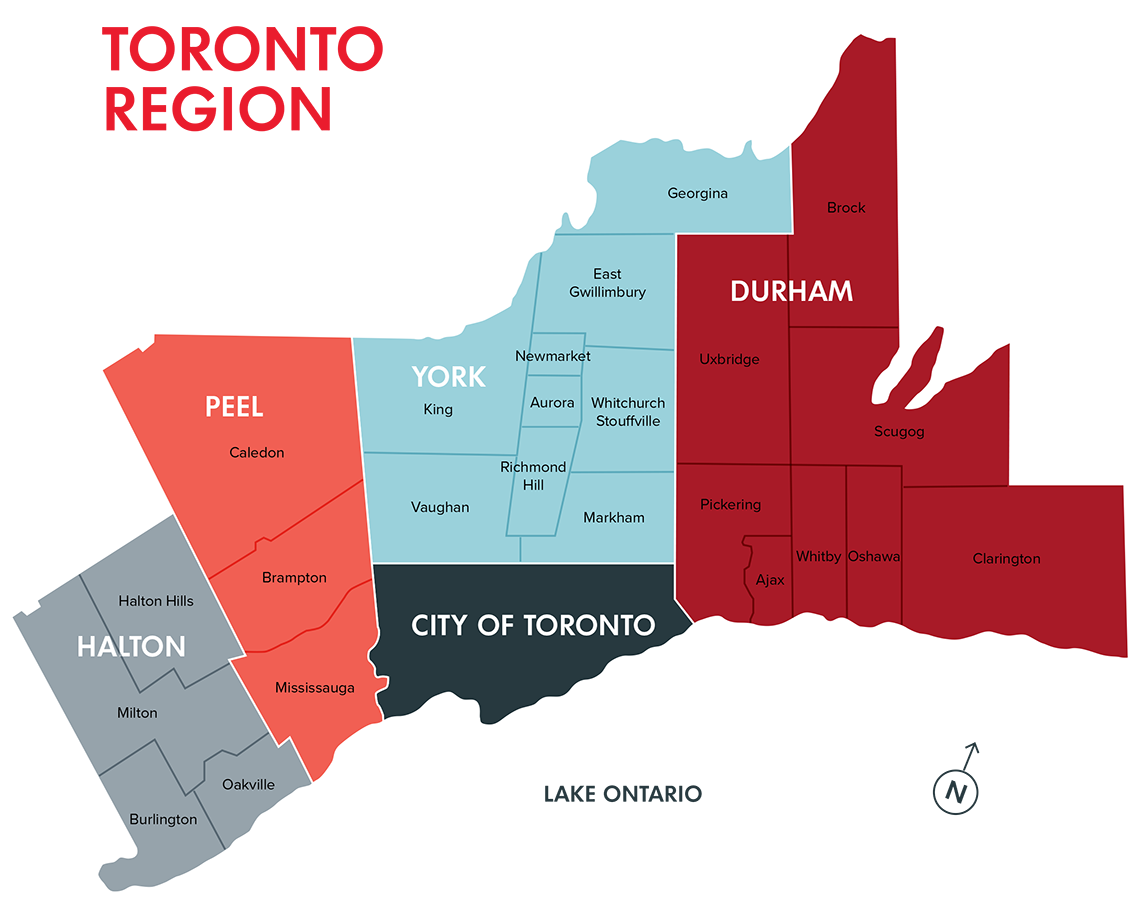 Map of Greater Toronto Area municipalities and regions